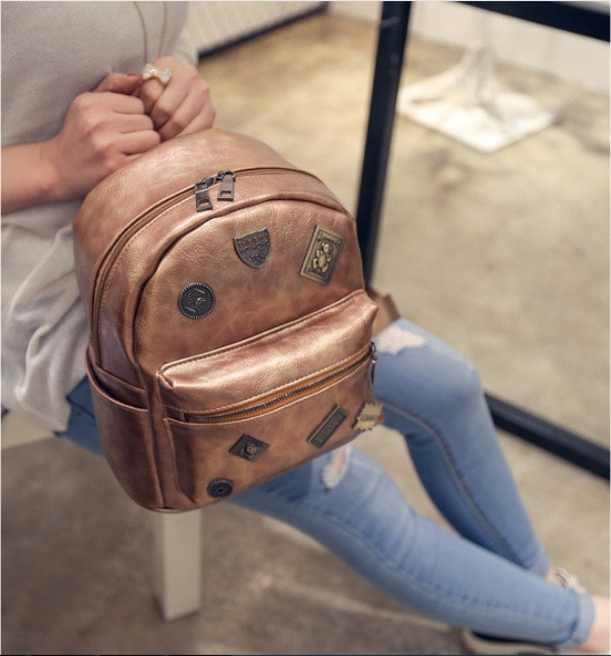 Кожаный рюкзак женский бронз