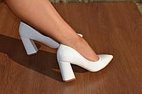 Туфли лаковые белые   лодочки с острым носиком Naomi premialle