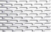Лист перфорированный: прямоугольные отверстия со скругленными торцами и симметричным смещением