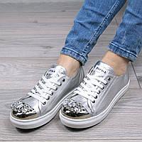 Слипоны кеды женские Famous с камнями серебро, кеды женские осенняя обувь