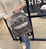 Кожаный рюкзак женский серебро, фото 4