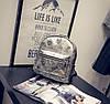 Кожаный рюкзак женский серебро, фото 2