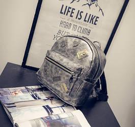 Кожаный рюкзак женский серебро
