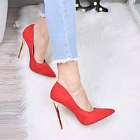 Туфли женские на шпильке Lady Star красный замша 3500, женская обувь