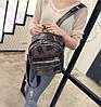 Кожаный рюкзак женский темное-серебро, фото 2