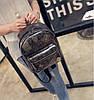 Кожаный рюкзак женский темное-серебро, фото 3