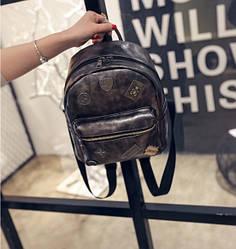 Кожаный рюкзак женский темное-серебро