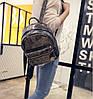 Кожаный рюкзак женский темное-серебро, фото 4