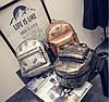 Кожаный рюкзак женский темное-серебро, фото 5