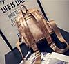 Кожаный рюкзак женский темное-серебро, фото 6
