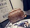 Кожаный рюкзак женский темное-серебро, фото 7