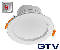 LED даунлайт GTV TORONTO 8Вт 600Лм IP40 120° 4000K, RA>80, алюминий
