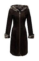 Дубленка женская Carnelli средней длинны с капюшоном приталенная на молнии