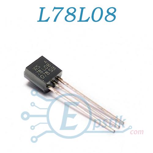 L78L08ABZ, стабилизатор напряжения 8В, 100мА, TO92