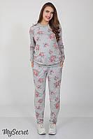 Удобные спортивные брюки для беременных Irhen rose, серый меланж с принтом розы