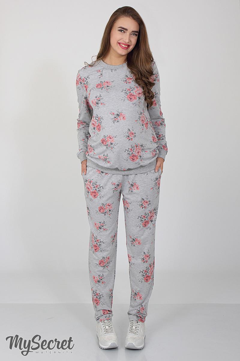 0cf56f280b98 Удобные спортивные брюки для беременных Irhen rose, серый меланж с принтом  розы купить ...