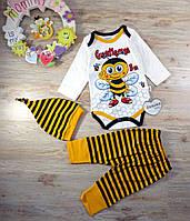 Комплект для мальчика 3ка (бодик дл.рукав+штанишки+шапочка) Пчелка Турция