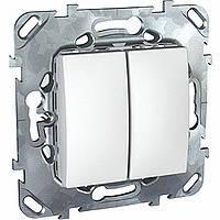 Выключатель двухклавишный белый Schneider Electric - Unica (Шнейдер Электрик Уника mgu3.211.18)