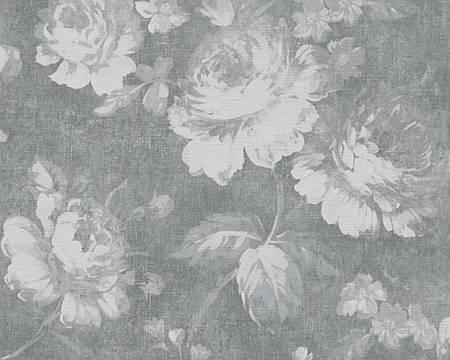 Обои темно-серые с рисунком в виде цветов 335041.