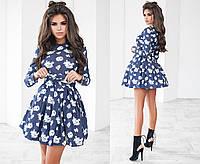 Женское джинсовое платье с подъюбником 4 цвета