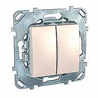 Выключатель двухклавишный сл.кость Schneider Electric - Unica (Шнейдер Электрик Уника mgu3.211.25)