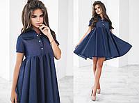 Женское джинсовое широкое платье с завышеной талией 3 цвета