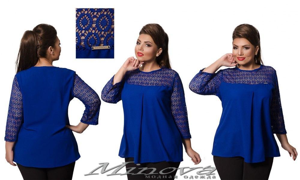 a07825aba51 Оригинальная шифоновая женская блуза со вставками из гипюра ( 48 - 56 ) -  Интернет-