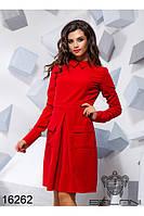 Повседневное красное платье с карманами и длинным рукавом новинка Balani (42,44,46)