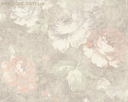 Обои кремовые с цветами роз, горячего тиснения 335042.