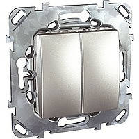 Выключатель двухклавишный алюминй Schneider Electric - Unica (Шнейдер Электрик Уника mgu3.211.30)