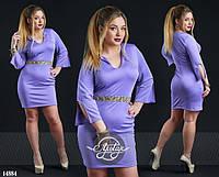 Красивое платье мини с V образным декольте и рукавом большого размера голубое