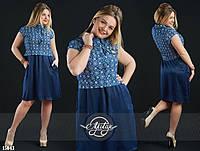 Милое платье свободного кроя с укороченной жилеткой большого размера синее