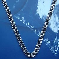 Серебряная цепочка, 650мм, 42 грамма, плетение Бисмарк, чернение