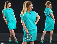 Стильное платье с воротником и гипюровой накидкой большого размера бирюзовое