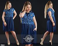 Модное платье свободного кроя с укороченной жилеткой большого размера синее