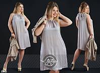 Модное платье свободного кроя с укороченной жилеткой большого размера серое