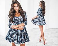 Женское джинсовое пышное платье с вырезом 3 расцветки