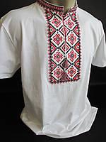 Мужские вышиванки белого цвета с коротким рукавом