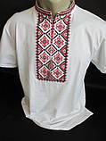 Мужские вышиванки белого цвета с коротким рукавом, фото 2