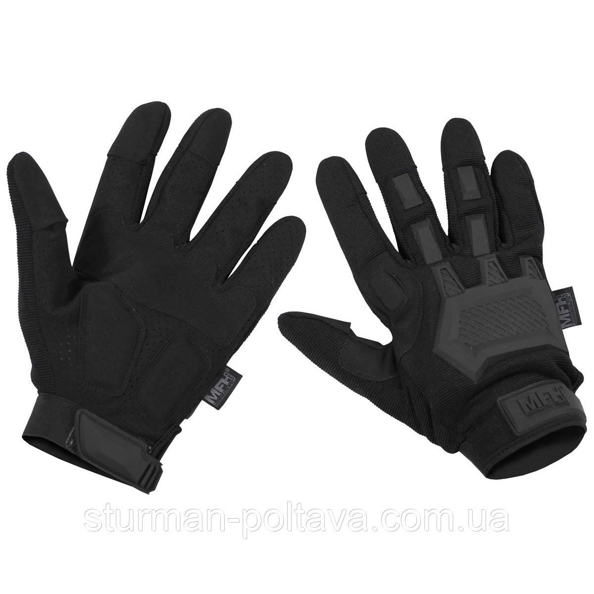 Перчатки армейские  тактические  ACTION , цвет черный  с защиными накладками  MFH (Германия)