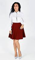 Стильная молодёжная юбка полусолнце бордового цвета , фото 1