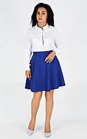 Яркая клешенная юбка полу солнце ярко-синего цвета , фото 1