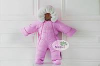Детский зимний комбинезон трансформер/конверт (розовый), на овчине для девочки