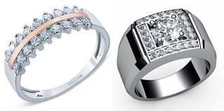 Кольца из серебра, обручальные, печатки, перстни