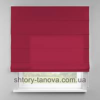 Римская штора 160x170 см из однотонной ткани, ярко-розовый, 75%хб 25%пэ
