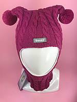 Детская зимняя шапка-шлем Косы 1805 фуксия
