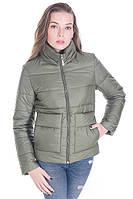 Молодёжная женская осенняя куртка размер плюс Лаура хаки (42-52)