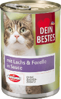 Мясное рагу для кошек Dein Bestes mit Lachs & Forelle, 400 гр.
