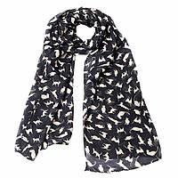 Женский шарфик легкий шифон принт Кошки (черный)