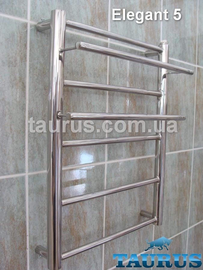 Компактный полотенцесушитель Elegant 5 высотой 550 мм. от ТМ TAURUS. С полочками. Круглые формы труб. Ширина: